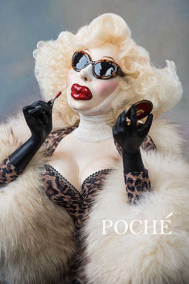 """""""Just a little Touch Up""""   a portrait bust sculpture of Amanda Lepore www.dustinpoche.com"""