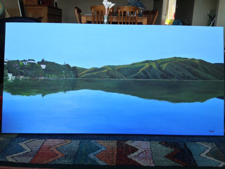 Pauatahanui Inlet Hills 2014 - original acrylic painting by Robyn Hall New Zealand Artist