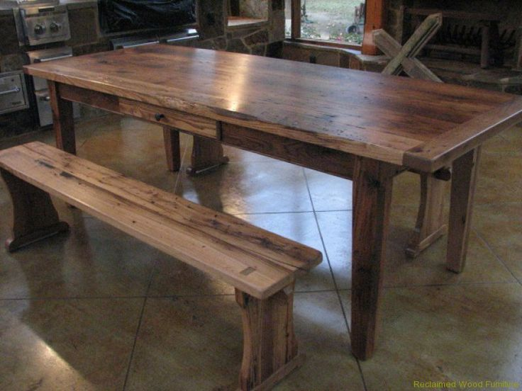 1 Reclaimed Wormy Chestnut Table with Drawer