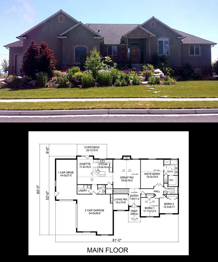 16 best one story house plans images on pinterest story House plans with garage in basement