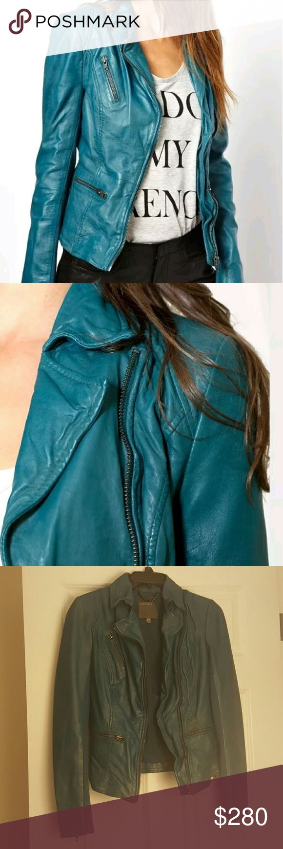 MUUBAA sirius teal leather jacket free people us 4 This is brand new, NEVER WORN without tags. Muubaa leather jackets are sold at free people often. Buttery soft leather. Price is Firm. Please message any questions Smoke and Pet free home Muubaa Jackets & Coats