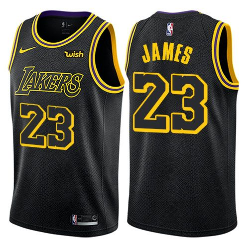 separation shoes 5b432 8cf5a Nike Lakers #23 LeBron James Black Youth NBA Swingman City ...