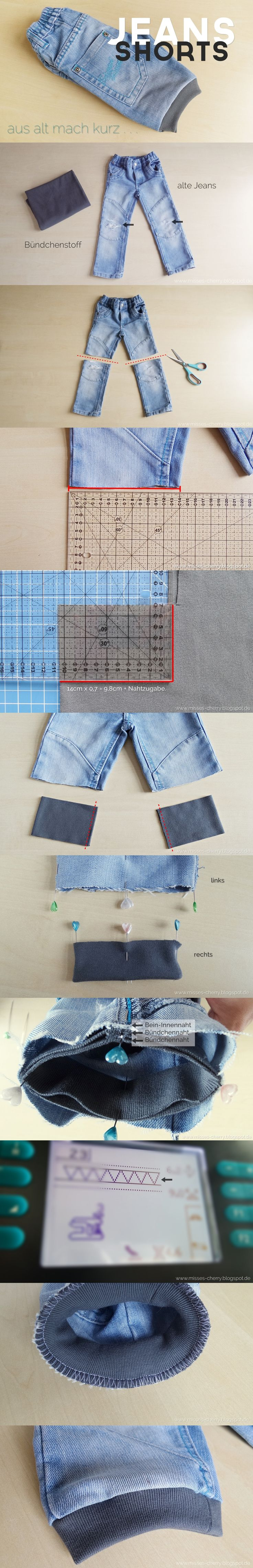 Anleitung kurze Jeans mit Bündchen #upcycling #nähanleitung #anleitung #nähen #nähenfürkinder #tutorial #sewing #kids #jeansshorts #shorts #boys