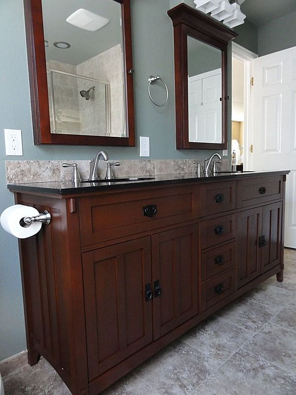 Dual Sink vanity. Love the idea of two separate mirrors instead of one large mirror for double sinks!