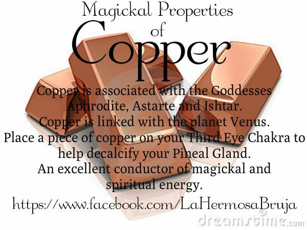 Magickal properties of copper https://www.facebook.com/LaHermosaBruja