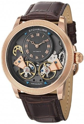 Stuhrling Original 368B.3345K54 Symphony Aristocrat Gemini II Automatic Skeleton Watch For Men