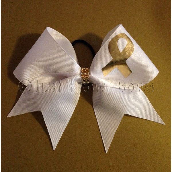 Big Cheer Bow Cheerbow Go Gold Childhood Cancer Awareness Bow Big Hair... ($10)…