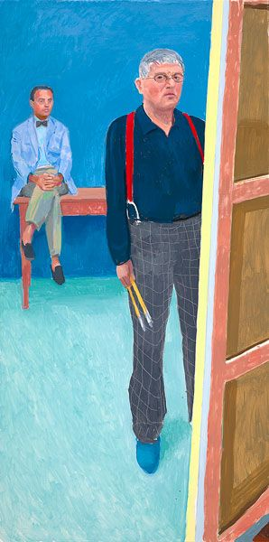 David Hockney, Self Portrait with Charlie, 2005. Oil on canvas, 76 X 36 inches.