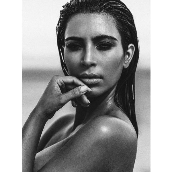 Kim Kardashian Does the Wet Hair Look for C Magazine ❤ liked on Polyvore featuring beauty products and haircare