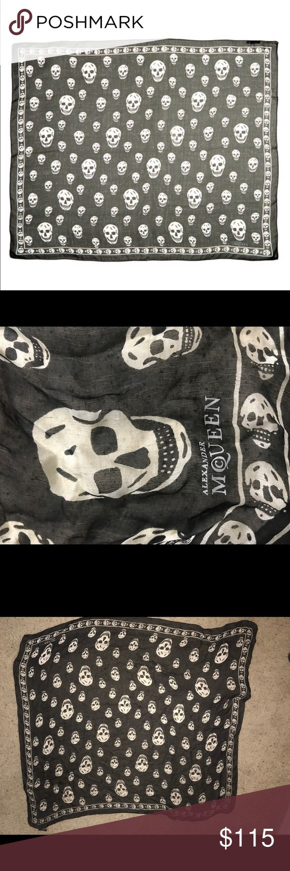 ALEXANDER MCQUEEN SILK SKULL SCARF In perfect condition, worn only a couple times. Signature Alexander McQueen skulls, black and white MADE IN ITALY Alexander McQueen Accessories Scarves & Wraps