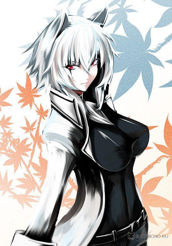 anime wolf girl with blue hair