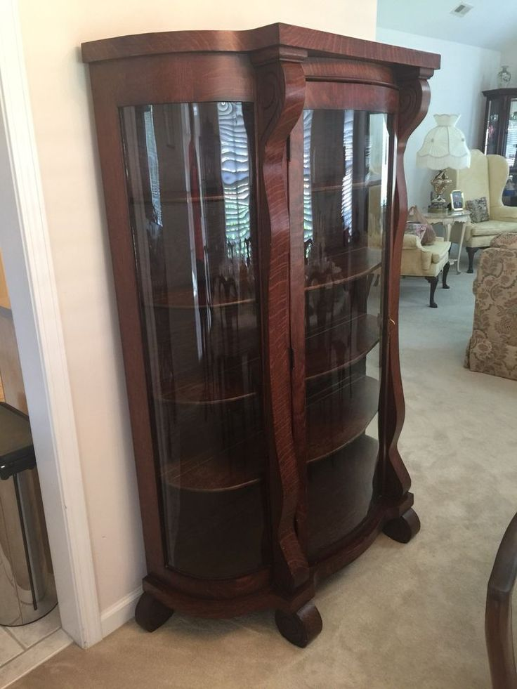 Antique Tiger Oak China Cabinet Curio  | eBay