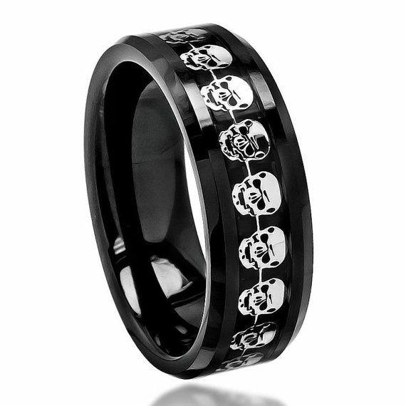 Stylish Black Ceramic Wedding Band 402 8mm Cut Out Skull Symbol Engagemen