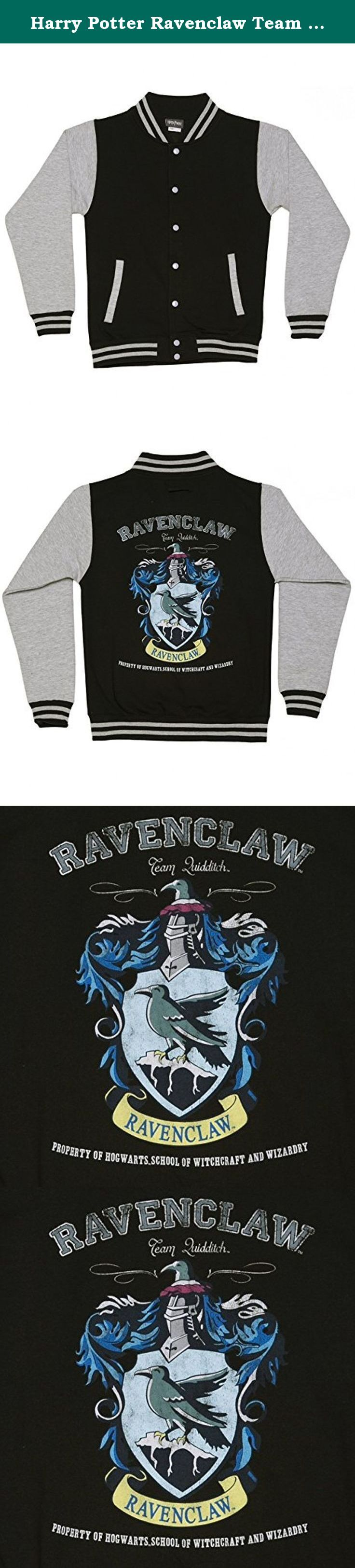 Harry Potter Ravenclaw Team Quidditch Ladies Varsity Jacket, Black/Charcoal (Small). - Ladies Black Harry Potter Ravenclaw Team Quidditch Varsity Jacket - Composed of a medium weight 80% Cotton/ 20% Polyester blend - Comes with contrast studs to fasten and a pocket with a small opening for an ear phone cord feed and hidden ear phone loops - Please check our custom size chart for your perfect fit - Exclusive to TruffleShuffle - 100% official merchandise. This amazing, magical, varsity…