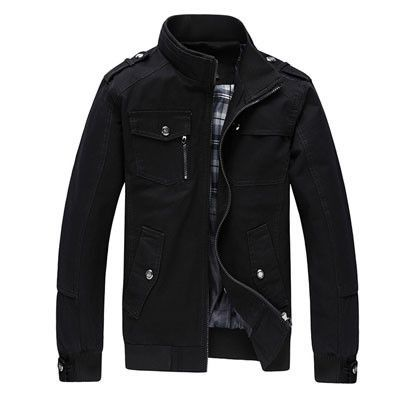 Men's Hot Fashion Military/Bomber-Style Stand-Up Collar Lightweight Lapel Jacket Coat 4 Colors M-4XL