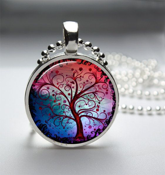 1in Circle Glass Bezel Pendant - Sunset Rainbow Tree Of Life Art - Free Ball Chain Necklace by HipsterDesigns via Etsy