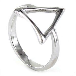Anillo de plata triángulo de hilo de 14 mm