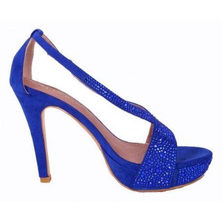 Zapatos de fiesta #VeronaFootwear Mod. 229385 Zapato de tacón de ante con pedrería. Color azul marino. #veronashoes #shoes #zueco #flat #sandals #footwear #style #saturday #fashion #moda #elegance #look #outfit