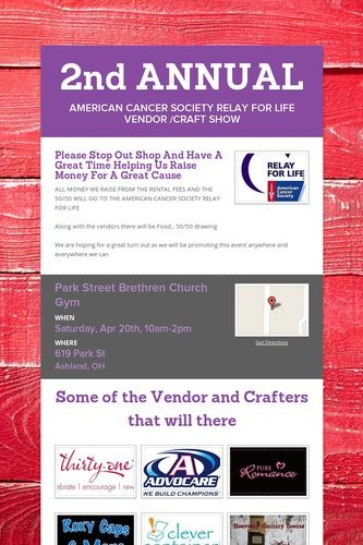 2nd ANNUAL AMERICAN CANCER SOCIETY RELAY FOR LIFE VENDOR ...  2nd ANNUAL AMER...