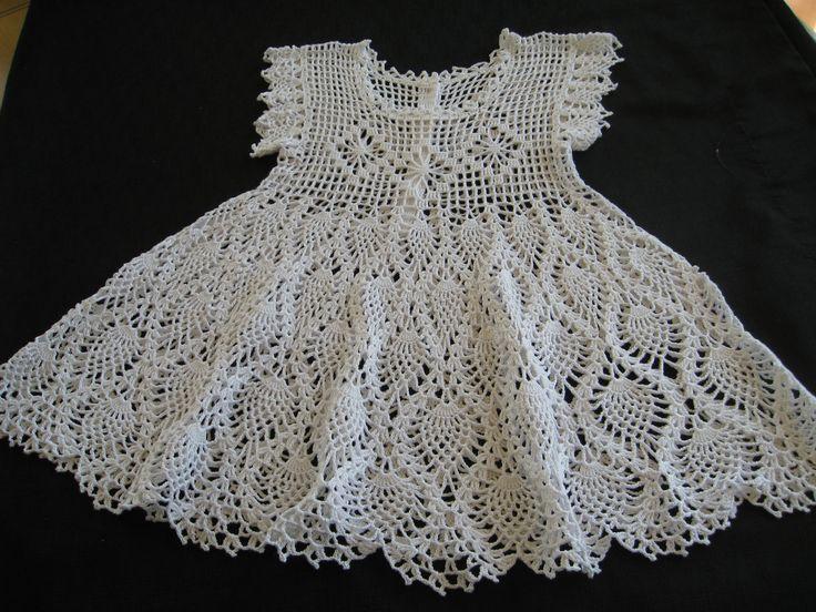 Free Crochet Baby Dress Patterns | Baby Christening Dress or Flower Girl Dress Crocheted Cotton White ...