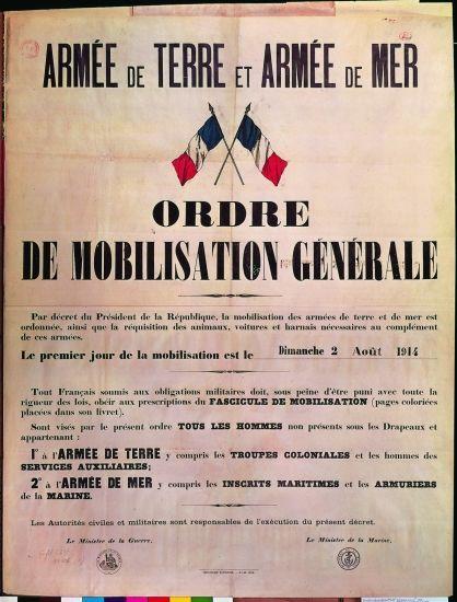 1914 1918 - Ordre de mobilisation générale, 2 août 1914
