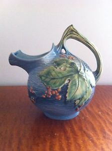 USA pottery | Details about Roseville USA Bushberry Blue Pitcher Art Pottery 1325