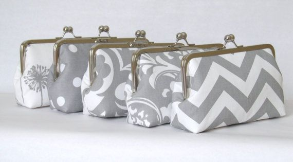 SALE 25% OFF - Set Of (5) Silk Lined Grey And White Custom Bridesmaid Clutches-Bridesmaid Gifts-Weddings-Bridal Accessories on Etsy, $183.75