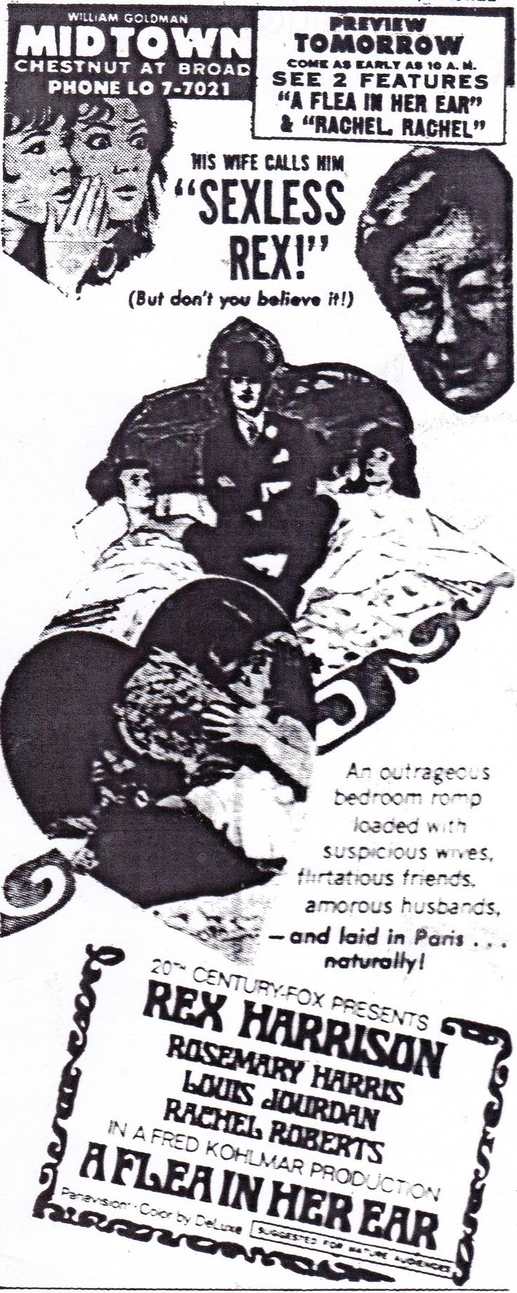 """Ad for """"A Flea in Her Ear,"""" starring Rex Harrison, Rosemary Harris, Louis Jourdan, and Rachel Roberts.  From The Evening Bulletin - Philadelphia; Monday, November 25th, 1968, Page 26."""