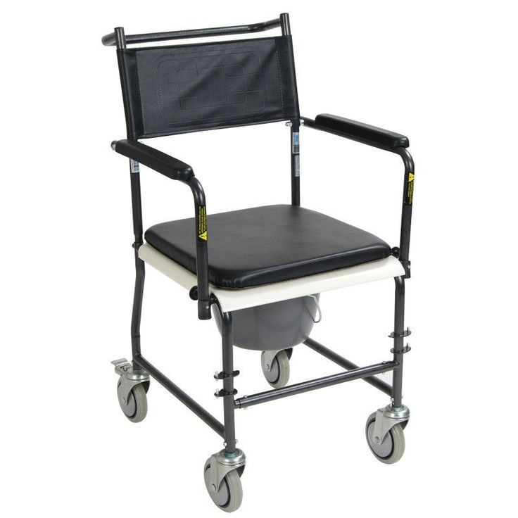 Folding, Portable, Upholstered Commode with Wheels and Drop-Arm | Drive Medical. PortableCommode Chair  Portable Upholstered Commode Chair with Wheels and Drop-Arms from PRO2Medical.com is folding with easy-to-release arm mechanism allows for safe lateral patient transfers to and from commode.   Product Summary   Silver-vein-coated steel tubing frame with welded construction. Easy-to-release arm mechanism allows for safe lateral patient transfers to and from commode. Swing-away and…