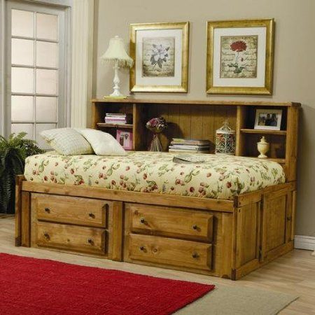 Coaster Twin Size Bookcase Bed Cottage Style in Rustic Pine Finish