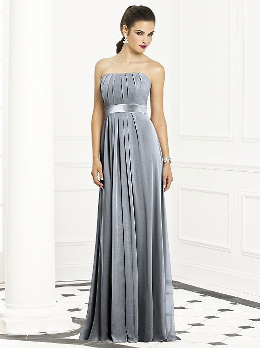 Full length strapless lux chiffon dress w/ inset matte satin trim at empire waist. Pleated bodice and front skirt. Sizes available: 00-30W, and 00-30W extra length. http://www.dessy.com/dresses/bridesmaid/6672/