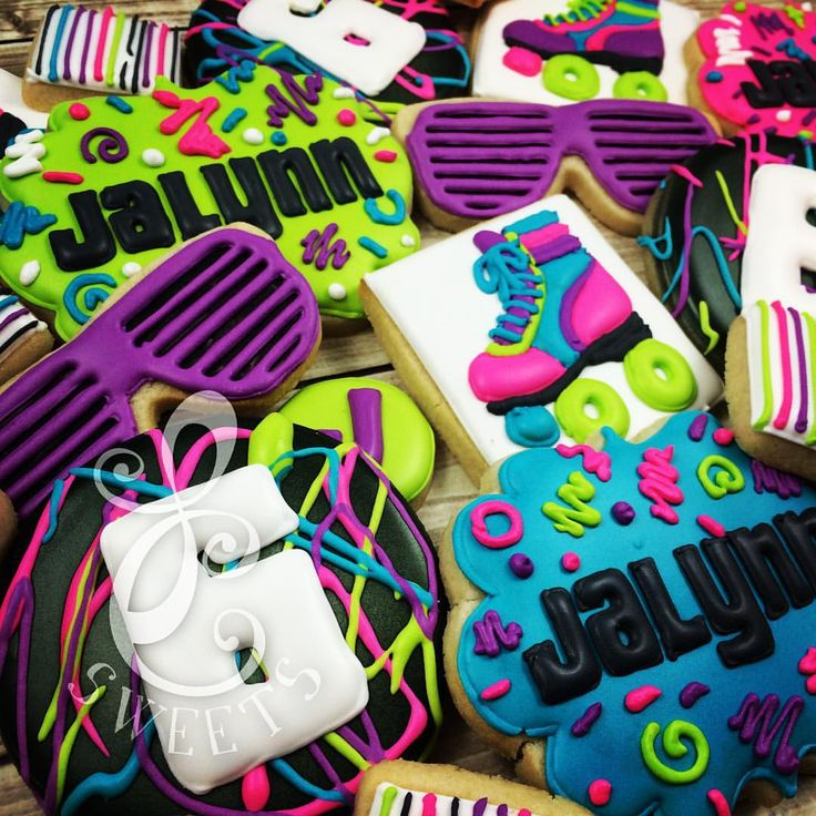 80s neon roller skate cookies
