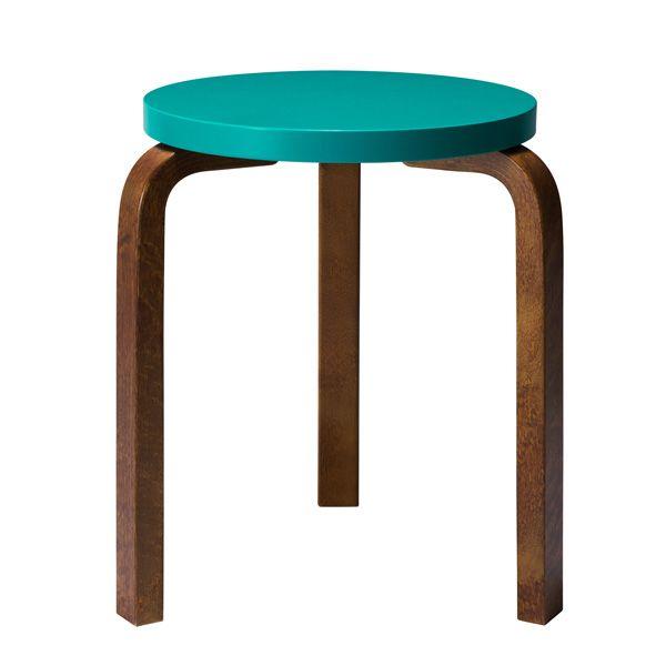 Aalto stool 60, turquoise-walnut, by Artek.