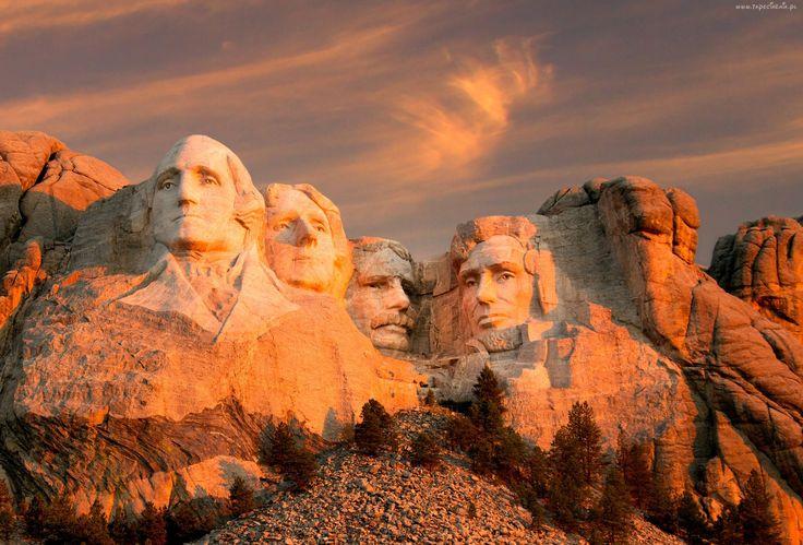Stany Zjednoczone, Góra, Mount Rushmore, Pomnik, Wykute Twarze