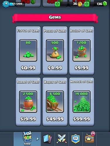 Clash Royale Virtual currency Bank: screenshots, UI