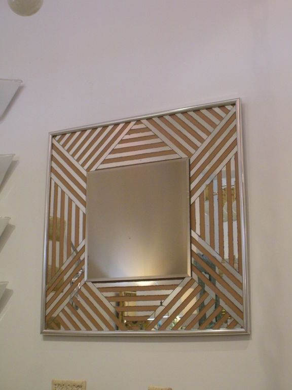 Vintage 1970s Zig Zag Mirror with Chrome Edge image 4