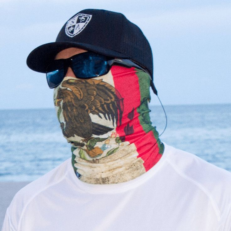 2PC Mexican flag Skull Face Shield Fishing Sun Scarf Balaclava Headwear Multi-fu