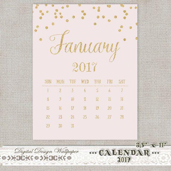 Printable Calendar 2017 Gold Glitter by DigitalDesignPaper on Etsy