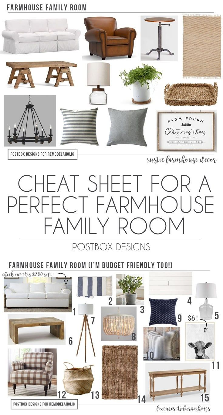 Postbox Designs E-Design: Cheat Sheet to the Perfect Farmhouse Family Room for Remodelaholic, Farmhouse Living Room Decor