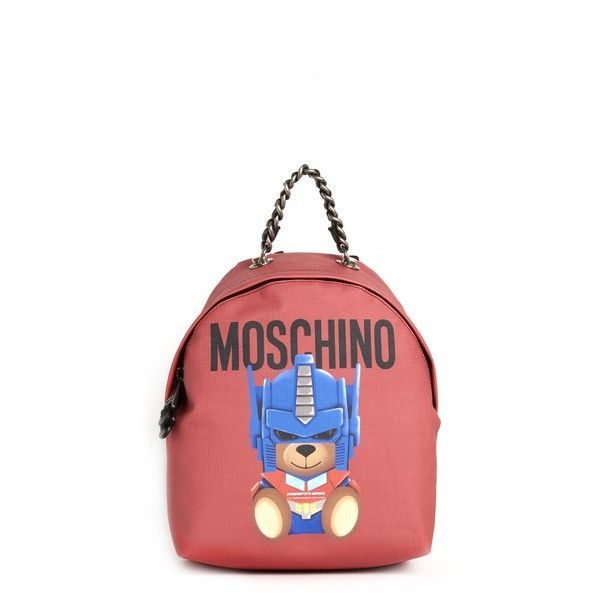 MOSCHINO Bear And Logo Printed Backpack With Chain ($390) ❤ liked on Polyvore featuring bags, backpacks, moschino backpack, white bag, white backpacks, backpacking bear bag and logo backpack
