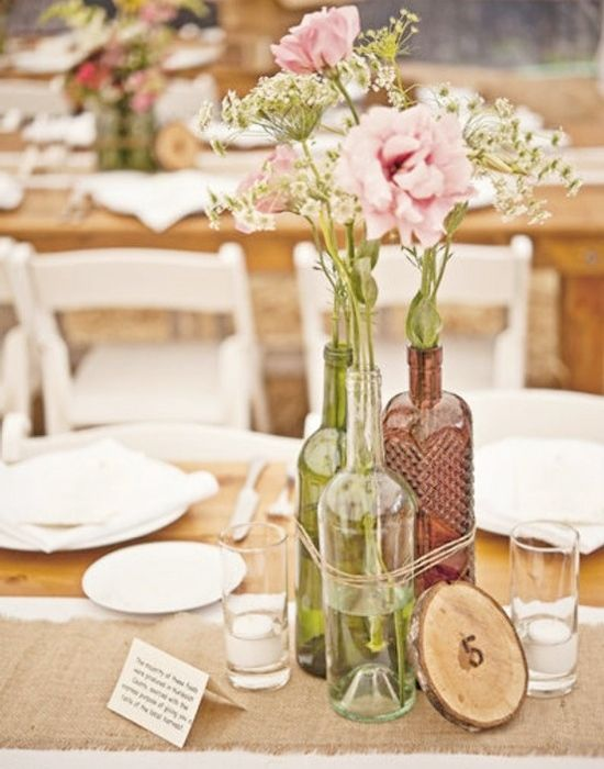 bottle ideas for vases...simple, rustic, chic..