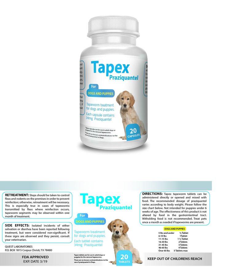 Dog supplies 20742 tapex dewormer 20 capsules tapeworm