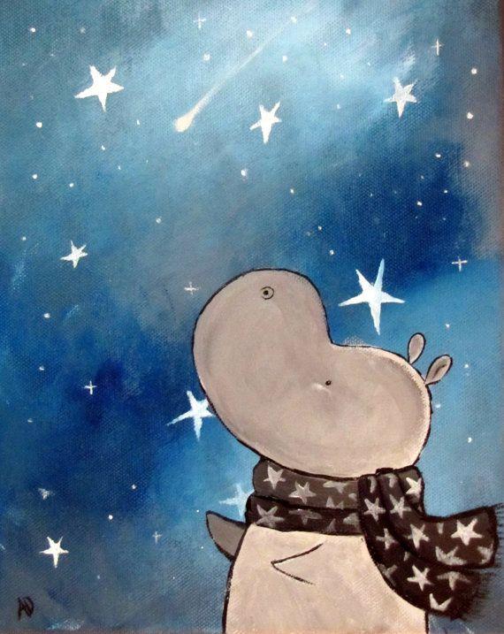 Kids Wall Art Original Nursery Painting Hippo Painting
