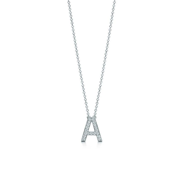 Tiffany Letters pendant of diamonds in platinum, mini. Letters A-Z available.
