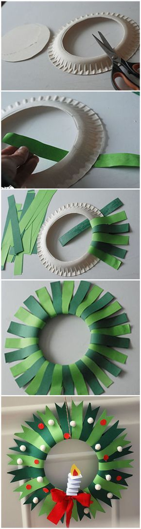 Easy paper plate Christmas wreath for children