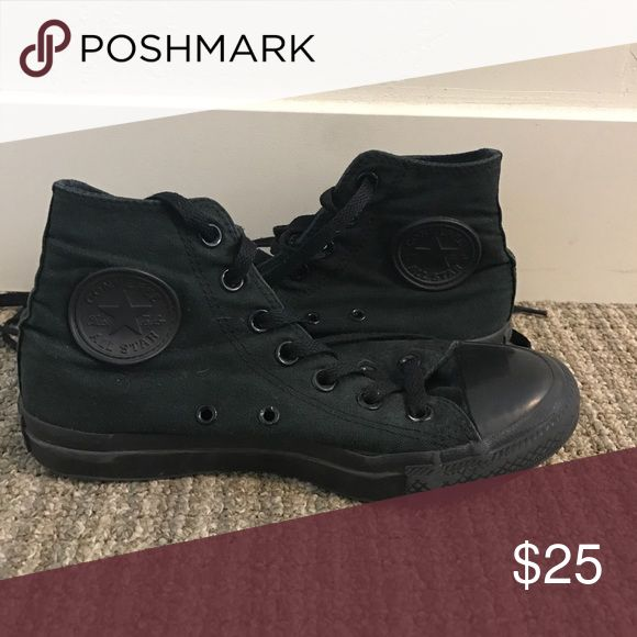 Two pairs of Converse $28 Women's size 7 Converse shoes. All black high tops never been worn. Black and white low tops worn once, great condition. $28 for both pairs. Converse Shoes Sneakers