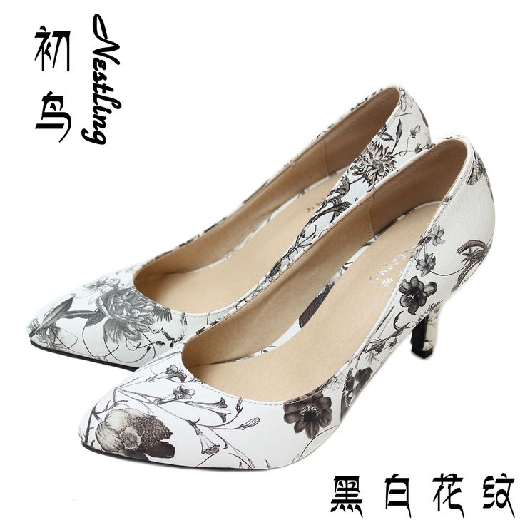 33.11$  Buy here - http://alidep.shopchina.info/go.php?t=32784555229 - Painting Pattern Women Pumps Sexy Pointed Toe Genuine Leather High Heels Shoes Woman Personality Office Shoes SMYCN-B0073  #aliexpresschina