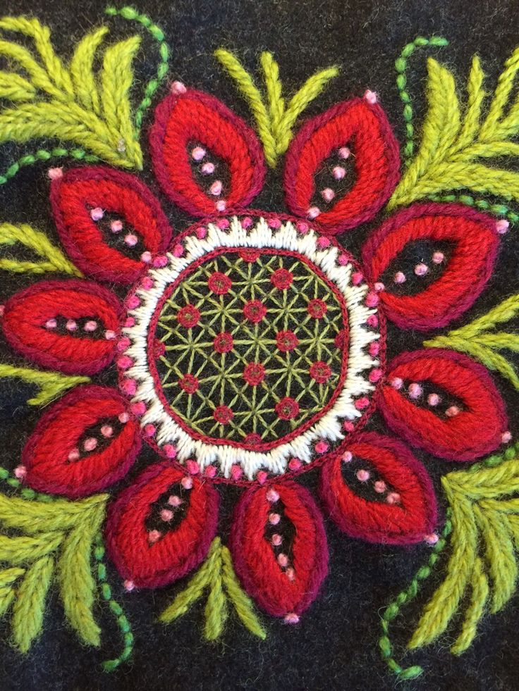 Part of wool embroidery