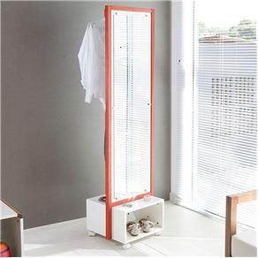 Espelho Giratório Multifuncional Com Cabideiro Ammy 46 cm Branco com Vermelho