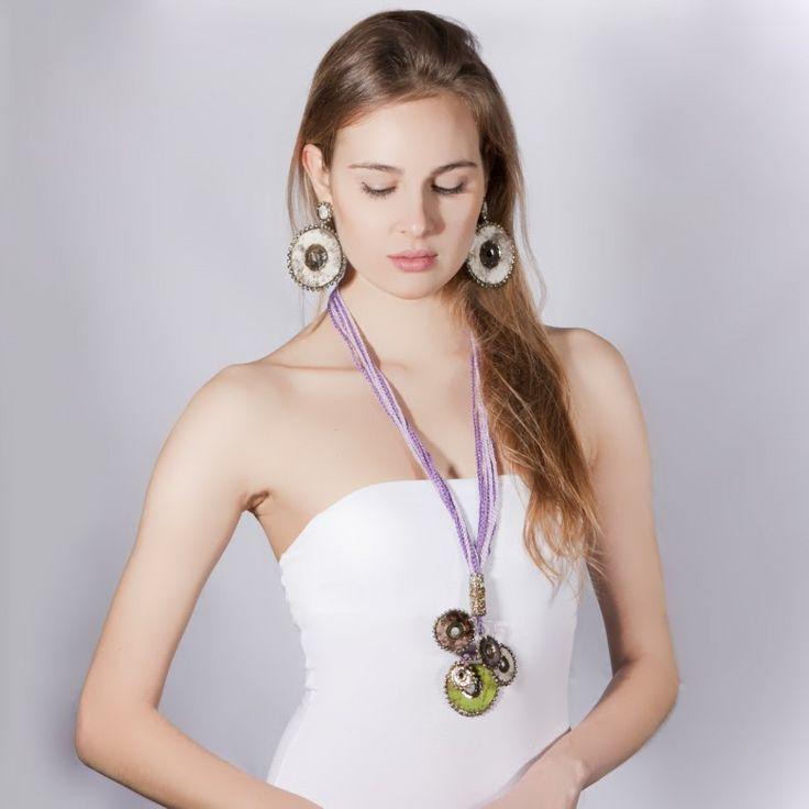 ceramics raku necklace+earring by Francesca Trubbianelli for Vulcanica